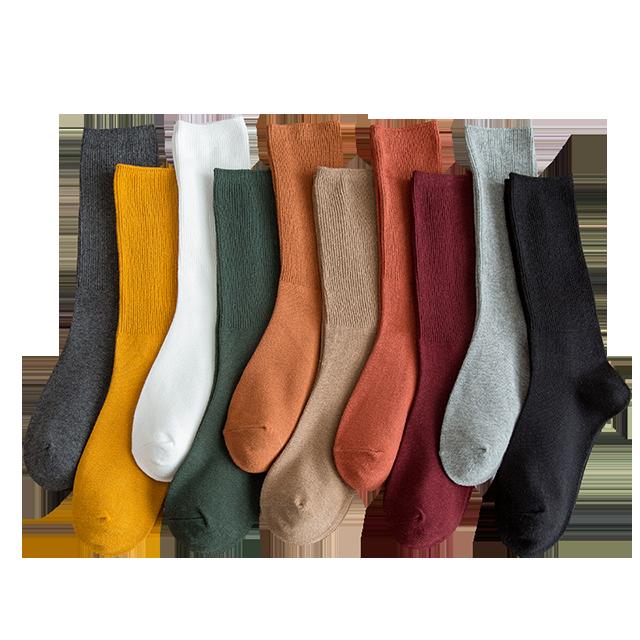 秋冬纯棉女士中筒堆堆袜