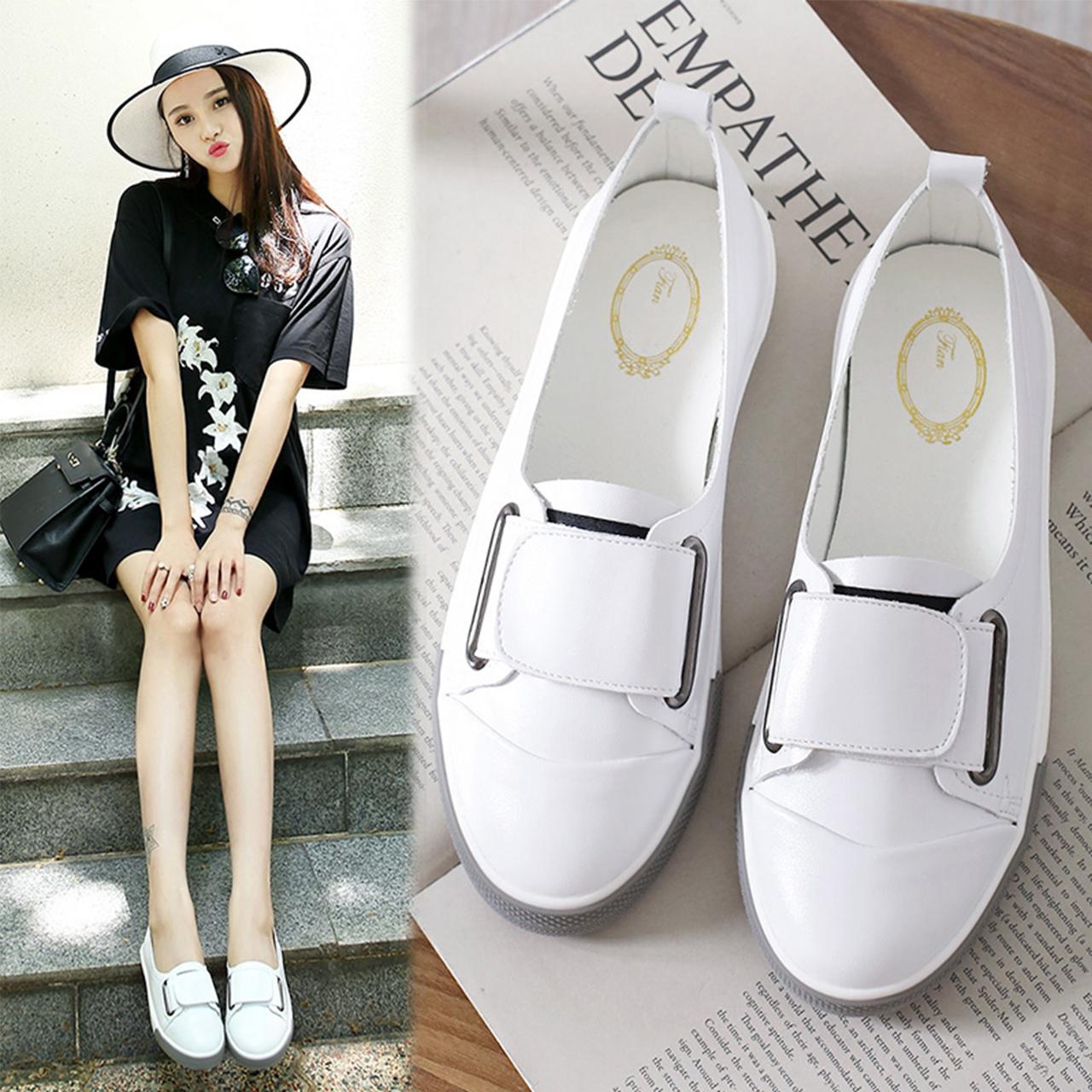 [100%羊皮]浅口小白鞋