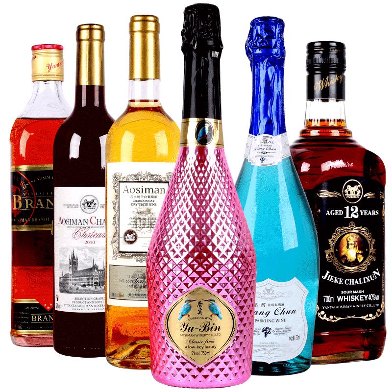 6支美酒组合装洋酒起泡酒红酒