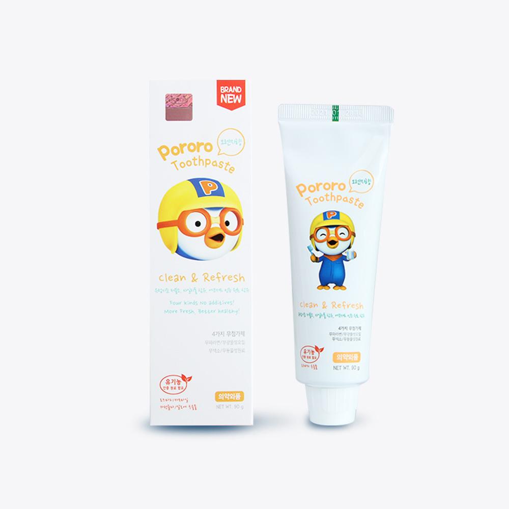 韩国进口pororo啵乐乐低氟牙膏 儿童90g橙子味宝宝去渍牙膏
