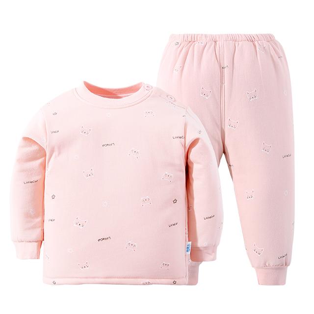 南极人三层夹棉加厚宝宝内衣套
