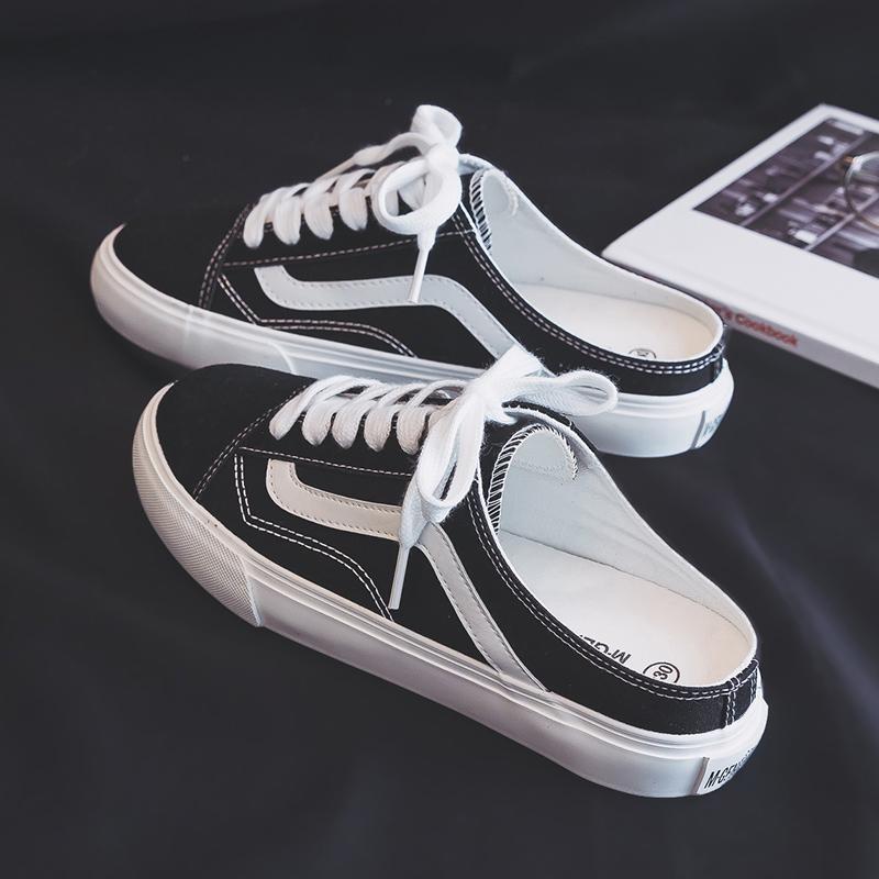 半拖帆布鞋女学生韩版平底单鞋