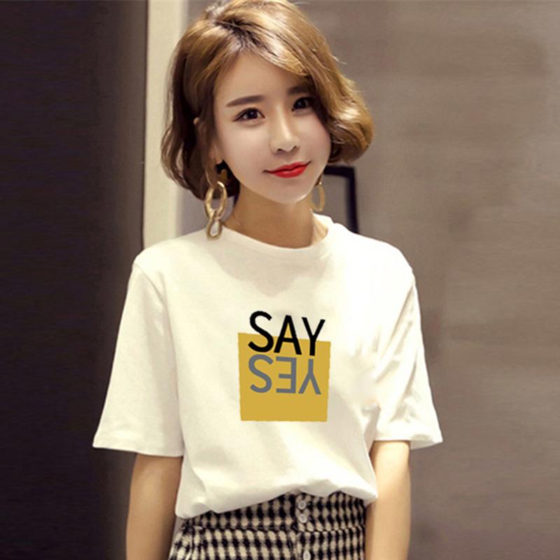 新款夏装韩版白色短袖t恤女装