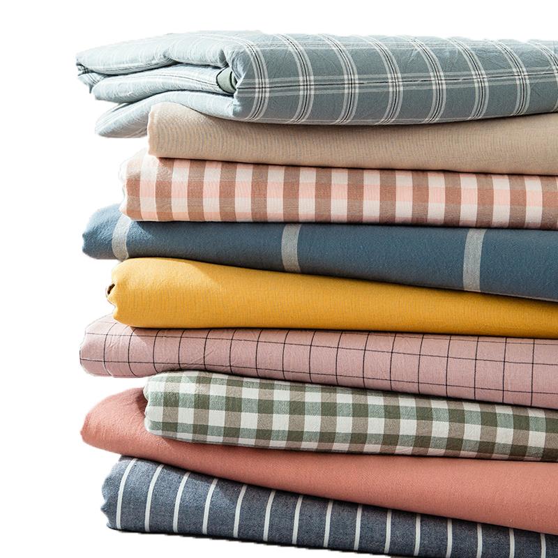 全棉水洗棉格子床单单件纯棉学