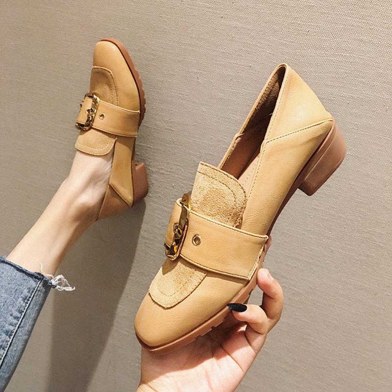 单鞋女2019秋季粗跟休闲豆豆鞋