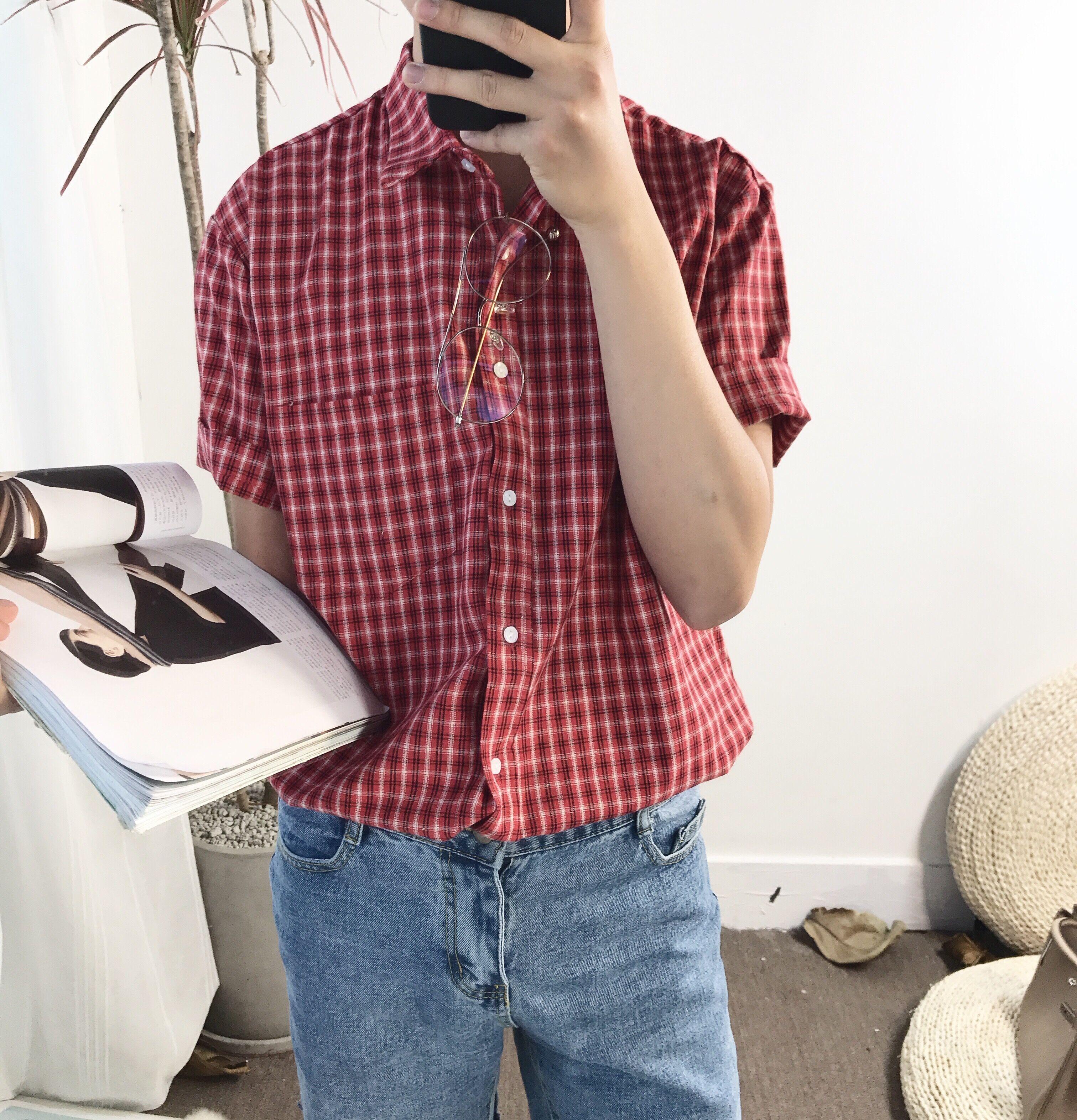 阿茶与阿古红格子文艺复古风短袖衬衫