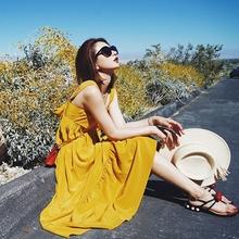 张佐佐2017夏装新款甜美海边度假修身显瘦长款无袖吊带连衣裙女