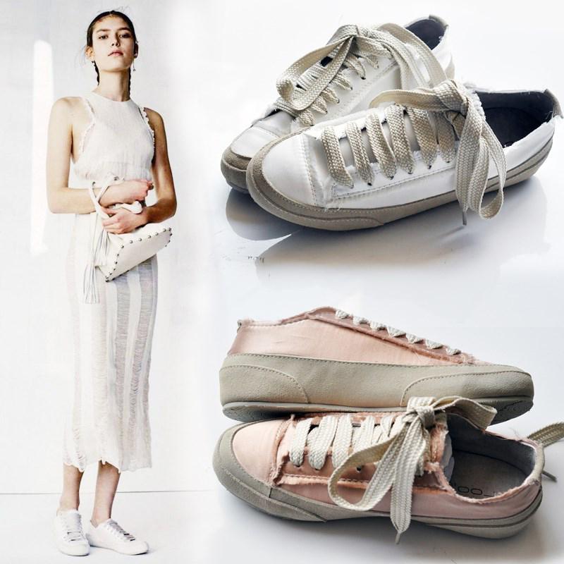 单鞋春季真皮4341平底西班牙小众真丝绸缎小白鞋女大码女鞋