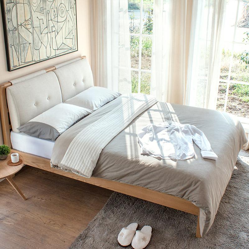 纯实木双人床 白橡木床1.5米 1.8米 简约现代环保软包布艺靠背床