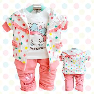 女童春秋款 2013女宝宝外出套装可爱小兔婴幼儿3件套套装