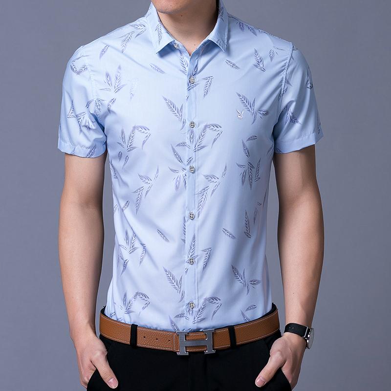 衬衣短袖男士修身帅气型免烫男装花花公子衬衫商务夏季