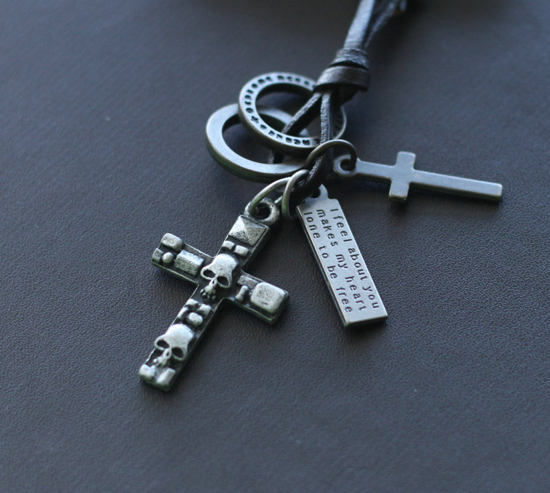 幸运十字架~冷色骷髅头 真皮牛皮项链 挂饰吊坠毛衣链 情人节礼物
