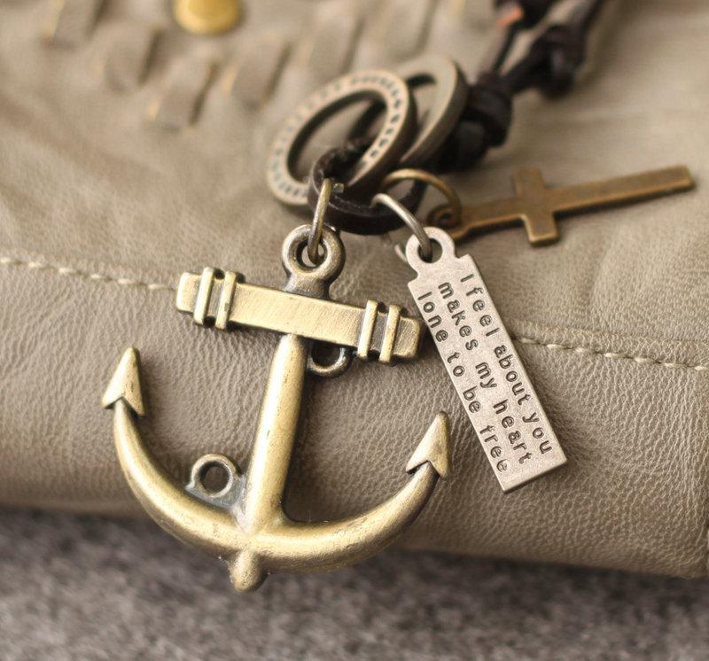 幸运锚头~古铜海盗之锚 真皮牛皮项链 挂饰吊坠毛衣链 情人节礼物
