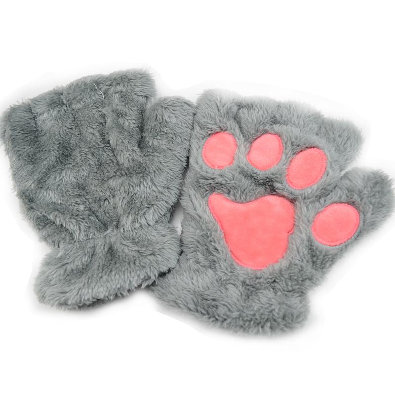 冬季保暖加绒卡通大猫爪手套女露指半指学生手套萌猫咪毛绒手套图片