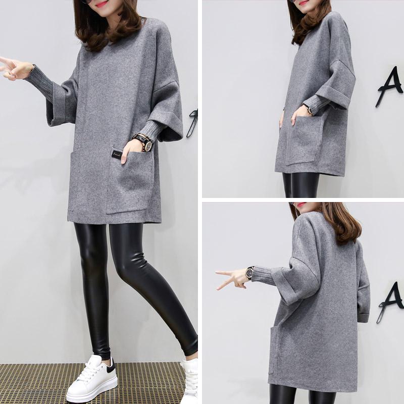 2016新款女装秋欧洲站宽松大码中长款长袖毛衣女假两件打底针织衫