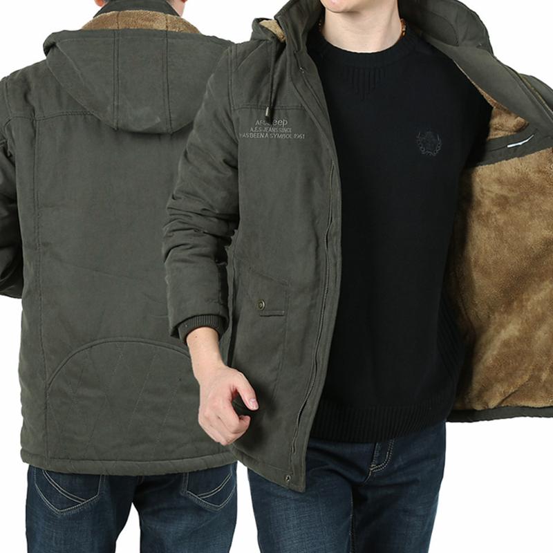 NIAN JEEP棉衣男加绒加厚多袋棉袄冬季青年吉普棉服户外保暖外套