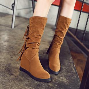 春秋冬季韩版内增高长靴2017新款百搭坡跟高筒靴单靴女靴子高跟鞋