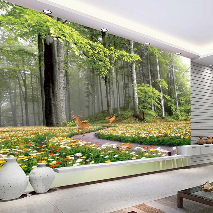 大自然森林风景3D立体电视沙发床头背景墙纸壁纸卧室客厅无缝壁画