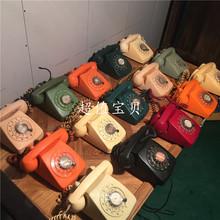 上海产 拨盘老电话座机彩色清新座机 怀旧收藏 卫星电话 装饰收藏