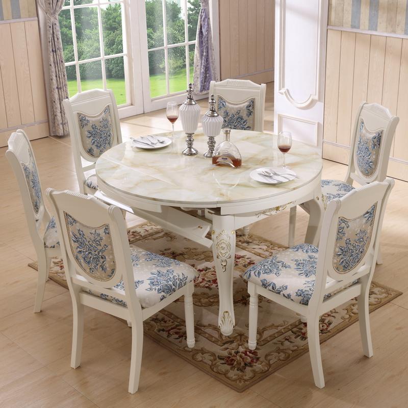 象牙白色小户型欧式大理石折叠餐桌椅组合可伸缩