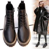 2016冬季新款系带粗跟短靴子女中跟厚底马丁靴女英伦风加绒女鞋潮