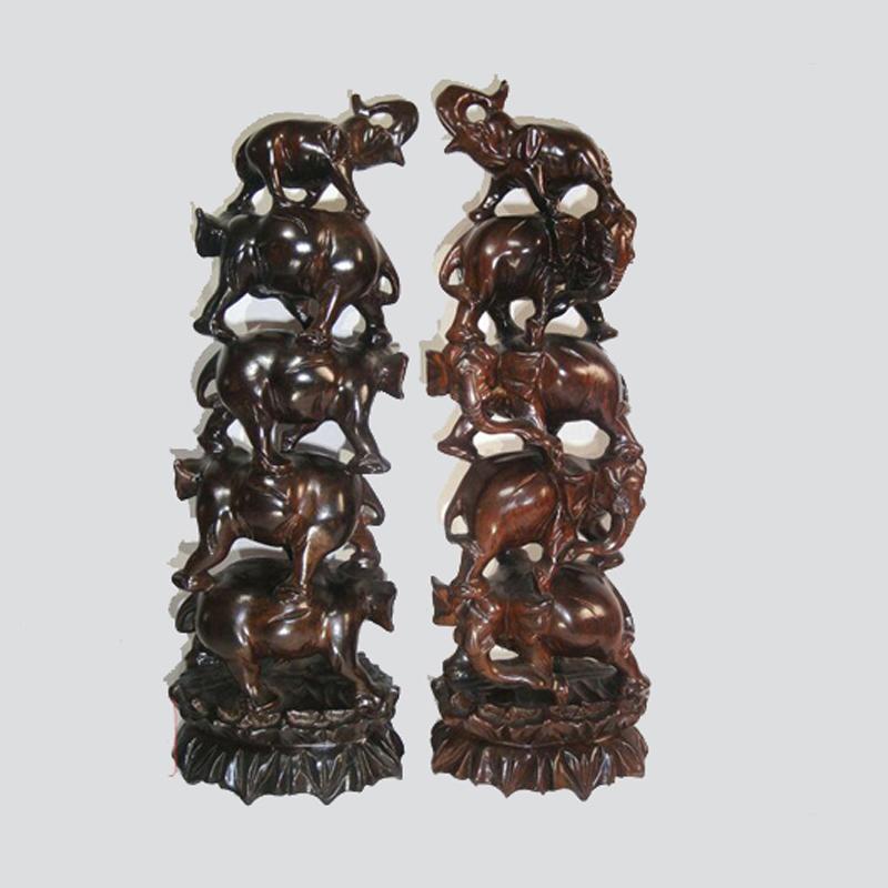 红木雕工艺品37cm象塔*黑紫檀大象