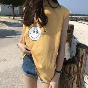 [ELINASEA]夏日自制推荐 简洁圆领无袖小宽松英文笑脸背心T恤女X