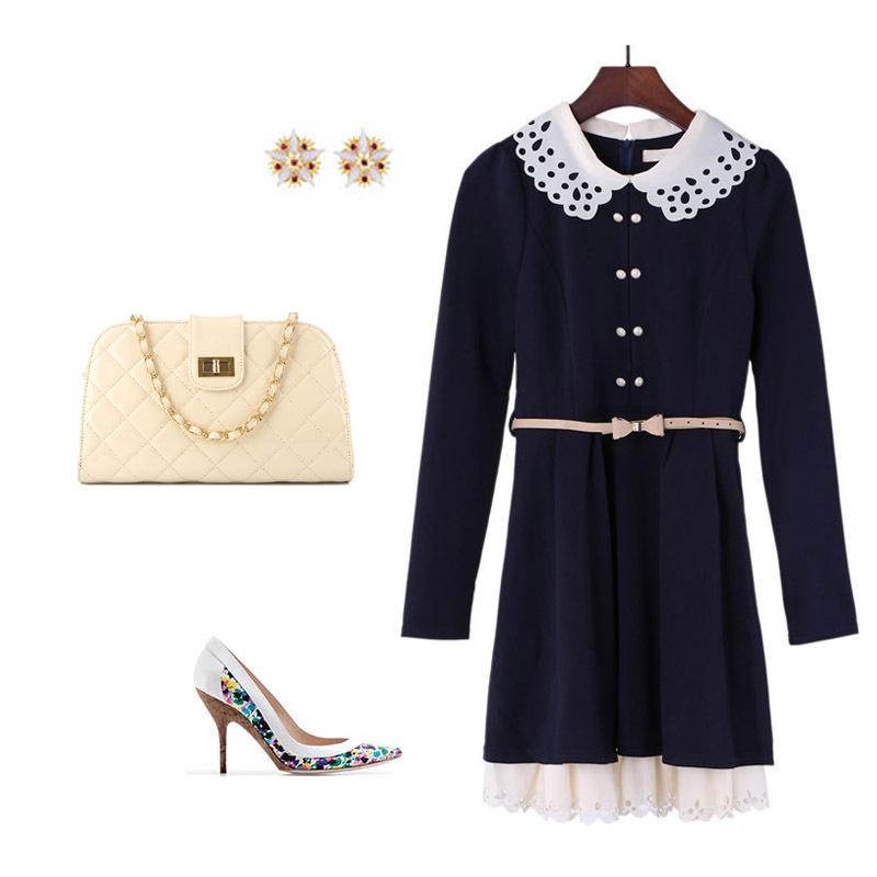 2013秋季新款 韩版修身甜美气质娃娃领 淑女修身长袖连衣裙