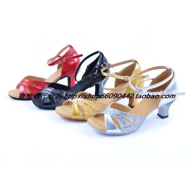 2011新款舞鞋 成人拉丁舞鞋  舞蹈鞋 练功鞋  高跟闪亮镂空  银色