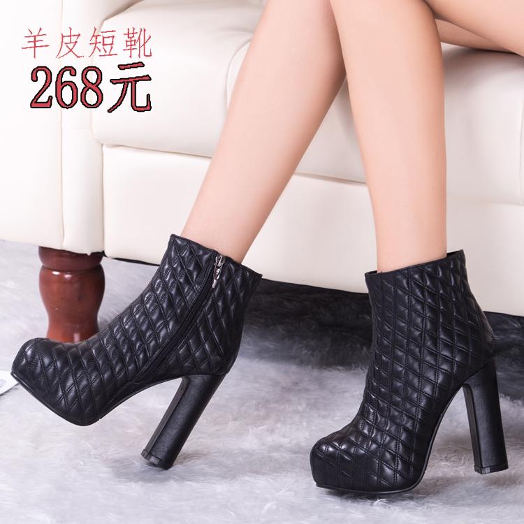 冬季新款 女 真皮裸靴粗跟高跟 舒适侧拉链内防水台马丁短靴子