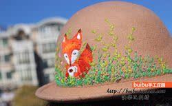 狐狸刺绣手工新品帽子