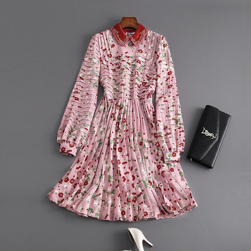 参考价4W6 巴黎秀场精细印花客供柔顺真丝刺绣两用领长袖连衣裙