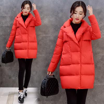 2016秋冬新款韩版红色茧型棉衣外套女中长款长袖宽松加厚保暖棉服