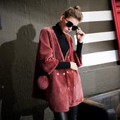 欧洲站2016冬季新款羊剪绒皮毛一体皮草大衣女七分袖裘皮外套6055