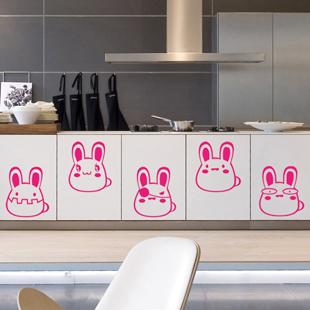 可移除厨房儿童房幼儿园卡通小兔子墙贴纸橱柜门装饰墙贴 乖乖兔