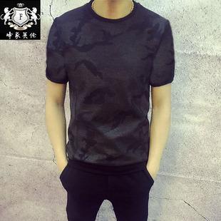 2017夏款个性男装圆领半袖 暗纹迷彩印花潮流韩版修身男士短袖T恤