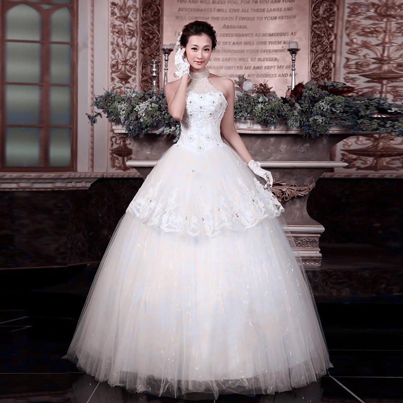 2014新款新娘婚纱礼服齐地花朵显瘦大码韩版蕾丝公主婚纱春秋季款