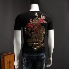 中国风男式短袖T恤后绣凤凰绣花亮片个性加大码体恤2017夏装半袖