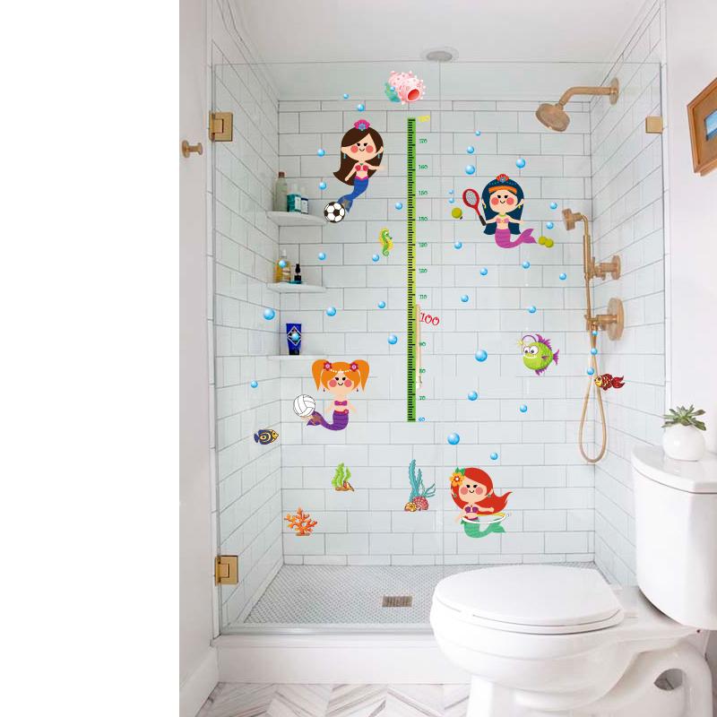 浴室卫生间瓷砖防水卡通墙贴画可爱美人鱼身高贴纸儿童房宝宝卧室