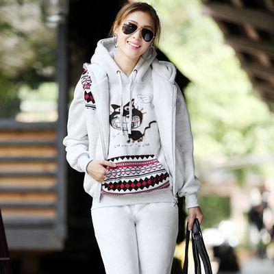 叶思雨卫衣三件套女韩版连帽运动休闲套装加绒加厚秋冬装新款女装