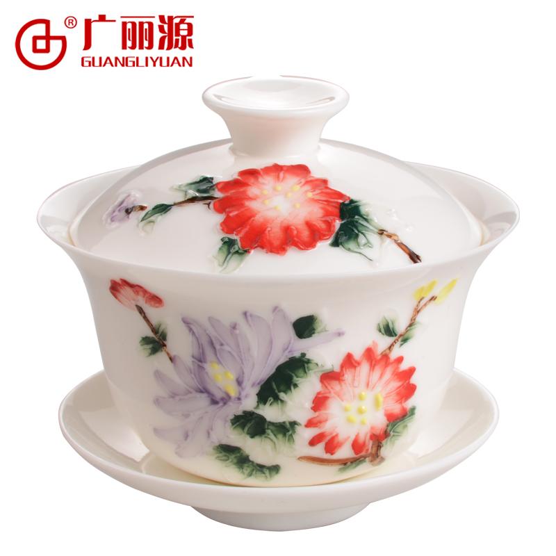 三才盖杯茶备茶具陶瓷精致 32茶杯功夫茶浮雕广丽源