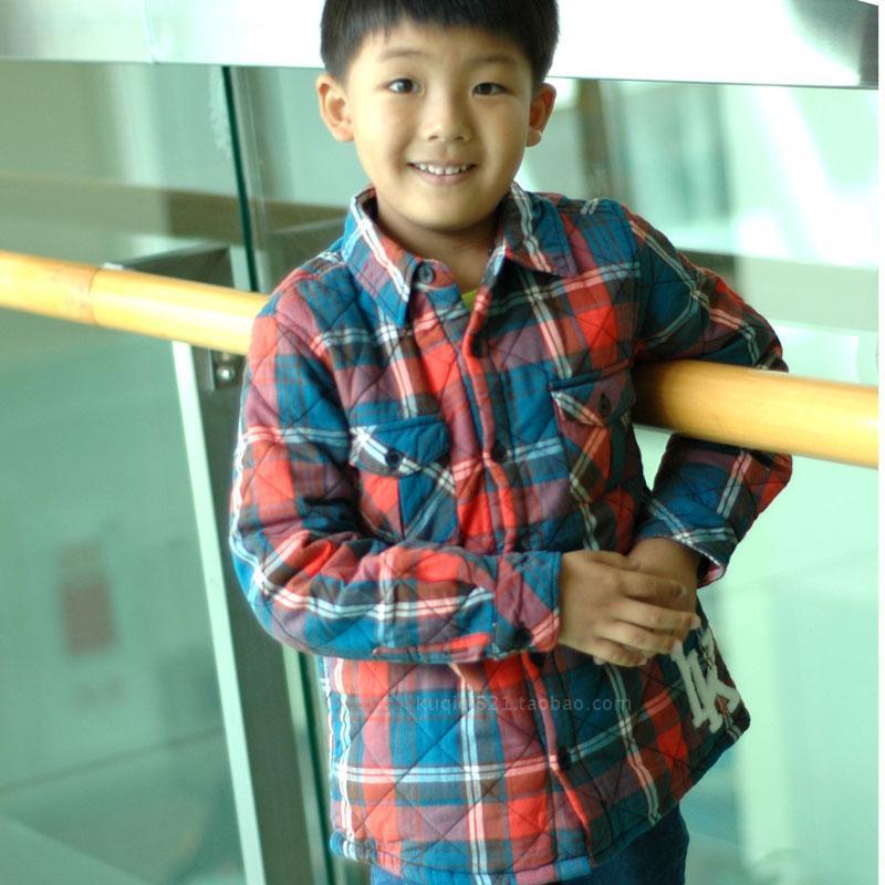 2013秋冬ikks2-3-4-5-6-7-8岁男童花格子带帽加厚纯棉服棉袄韩版