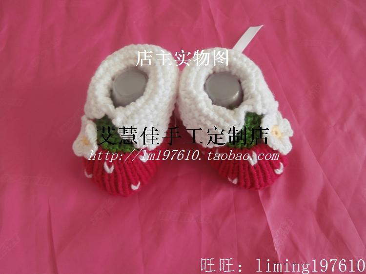 手工编织婴儿鞋毛线鞋软底鞋学步鞋秋冬宝宝鞋0-1岁新生儿鞋子X10