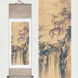 双鹿图山水风景动物中式酒店客厅卧室国画装饰画沈铨卷轴挂画清