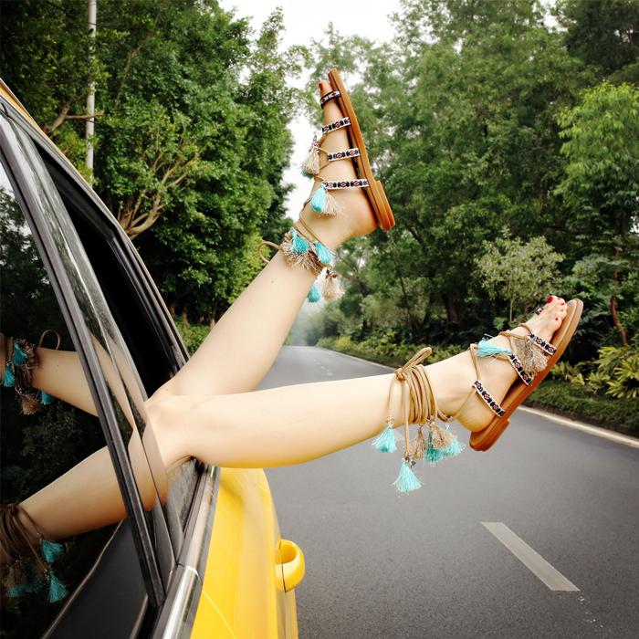 韓國學生波西米亞女鞋涼鞋綁帶真皮平底女夏百搭夾腳