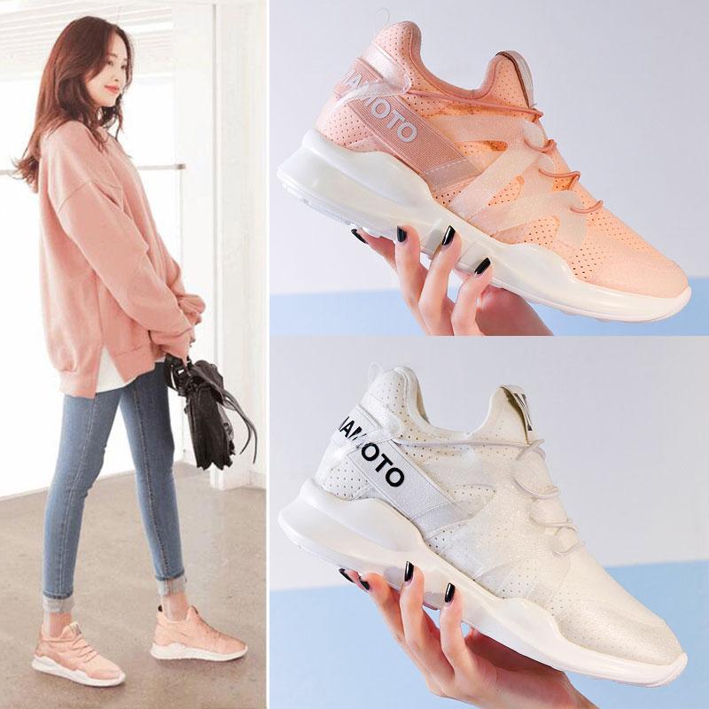 春夏韩版鞋原宿百搭透气跑步增高粉色休闲鞋运动鞋