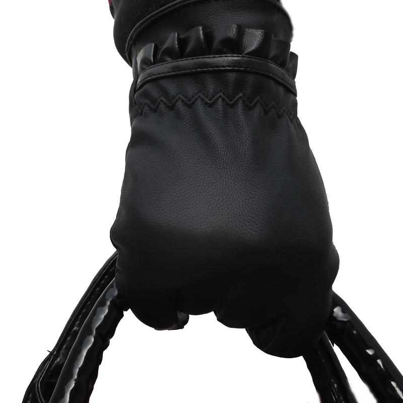 女款韩版皮手套 女士保暖加绒手套 秋冬季外出pu皮手套女