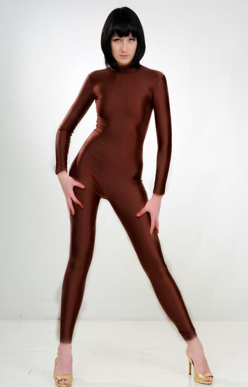 全包紧身衣连体健美体操服形体车模服比赛服莱卡氨纶高亮滑咖啡