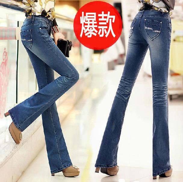 韩版2013微喇牛仔裤女修身春秋季女裤浅色小喇叭牛仔裤显瘦长裤