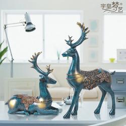 欧式麋鹿摆件创意室内家居电视柜摆设样板房软装饰艺术品结婚礼物